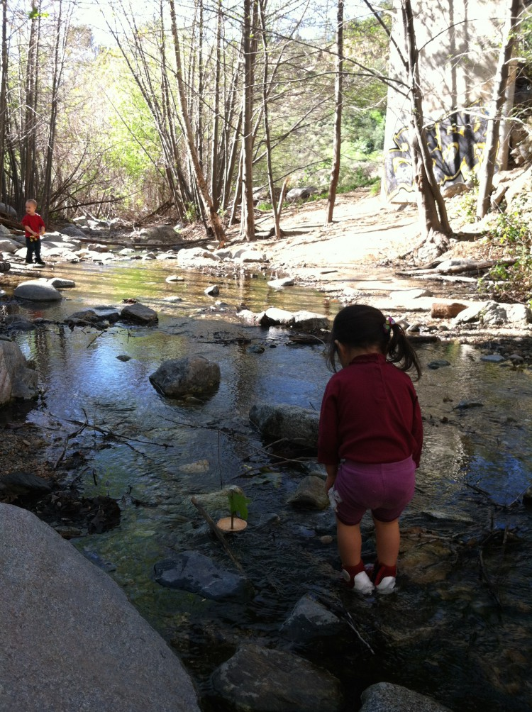 Hope playing by the creek at Sierra Madre